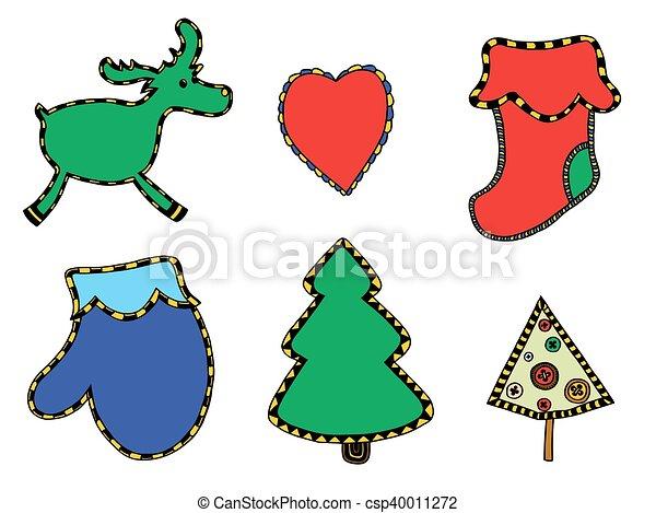 Cute Christmas stickers set - csp40011272