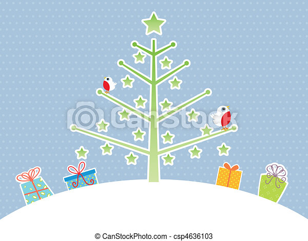 Cute Christmas Tree Background Vector