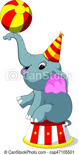 illustration of cute circus elephant with a striped ball vector rh canstockphoto ca circus elephant clipart free circus elephants clipart