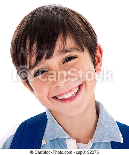 cute, closeup, jovem, sorrizo, menino - csp3132075