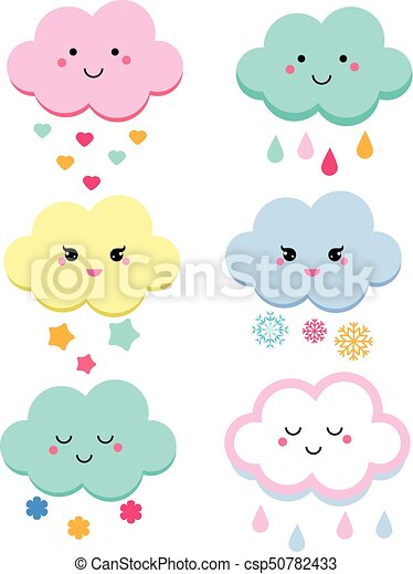 Cute clouds vector illustration for kids  isolated design children  baby  shower clouds