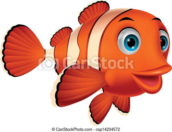 Cute clown fish cartoon - csp14204572
