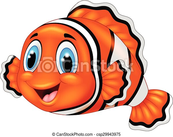 Cute Clown Fish Cartoon Adorable Animal Aquatic Background