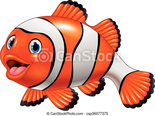 Vector Illustration Of Cute Clown Fish Cartoon On White Background