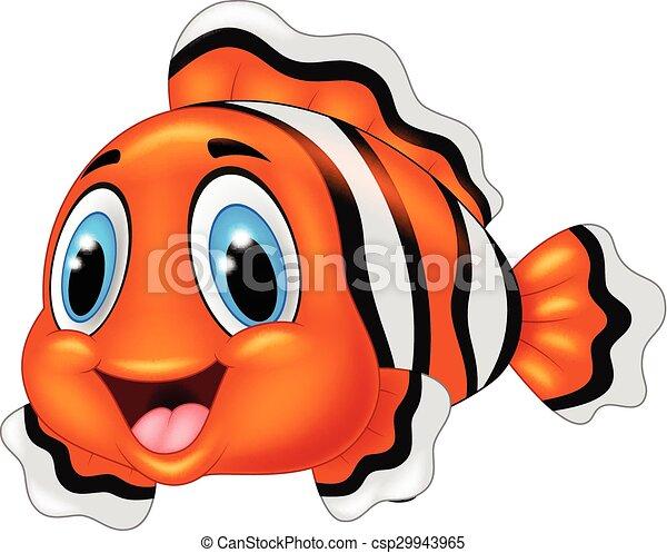Cute Clown Fish Cartoon Posing Adorable Animal Aquatic