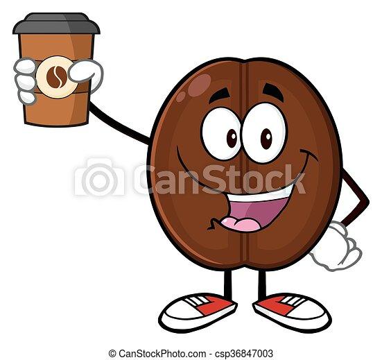 Cute Coffee Bean Character  - csp36847003