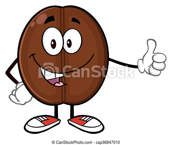 Cute Coffee Bean Mascot Character - csp36847010