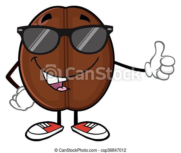 Cute Coffee Bean With Sunglases - csp36847012