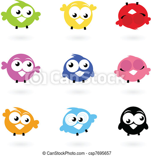 Cute color vector Twitter Birds icons collection isolated on whi - csp7695657