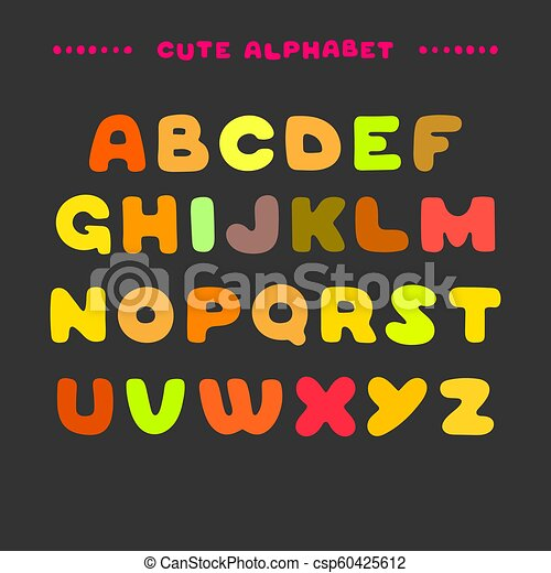 Cute Colorful Hand Drawn Uppercase Alphabet Cartoon Style Abc