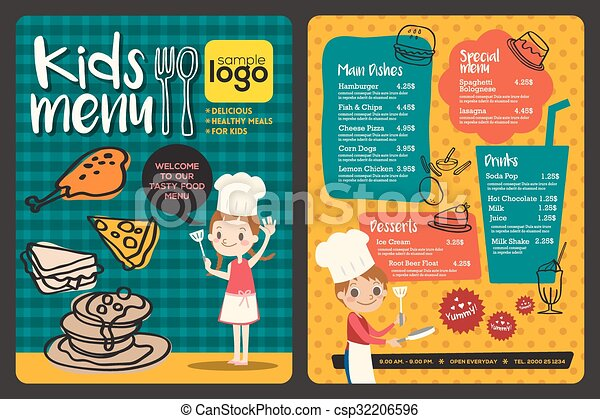 Cute colorful kids meal menu template - csp32206596