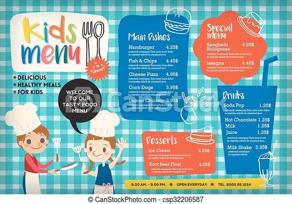 Cute colorful kids meal menu template - csp32206587