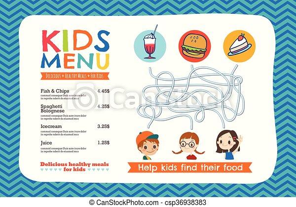 Cute colorful kids meal menu template - csp36938383
