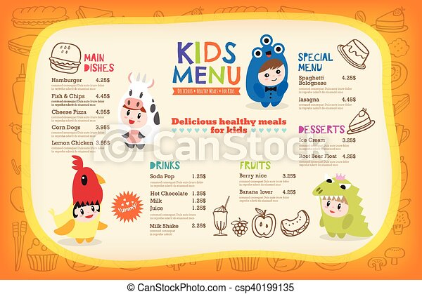 Cute colorful kids meal menu template - csp40199135