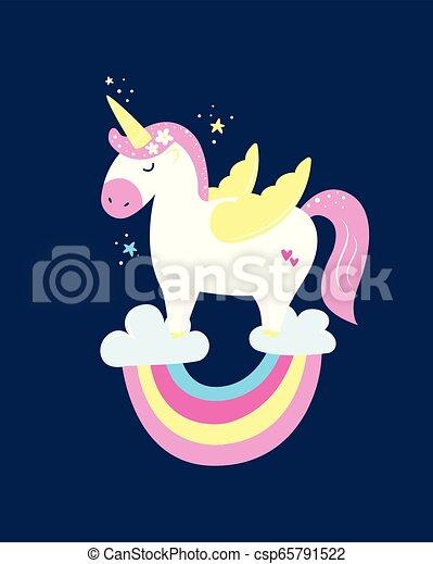 cute, colours., pastel, magiske, enhjørning, regnbue - csp65791522
