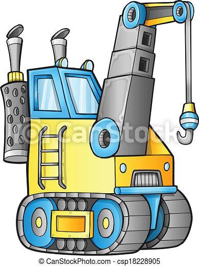 Cute Construction Crane Vector - csp18228905