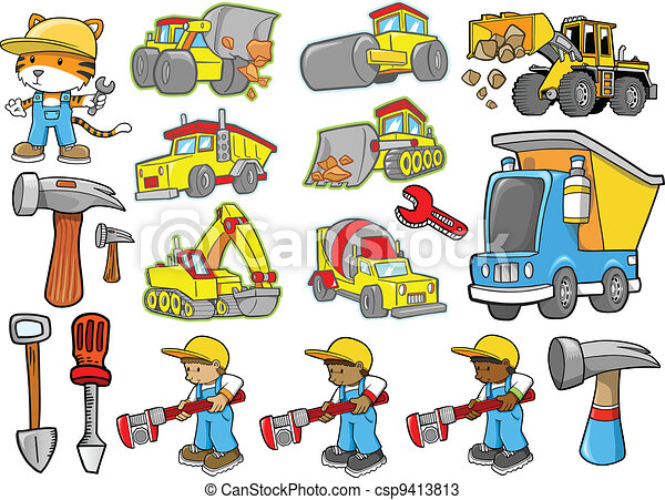 Cute Construction Vector set - csp9413813
