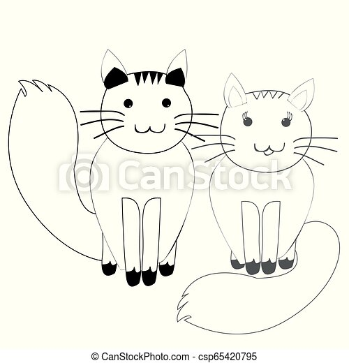 Cute Couple Of Cats In Simple Doodle Style Cute Couple Of White