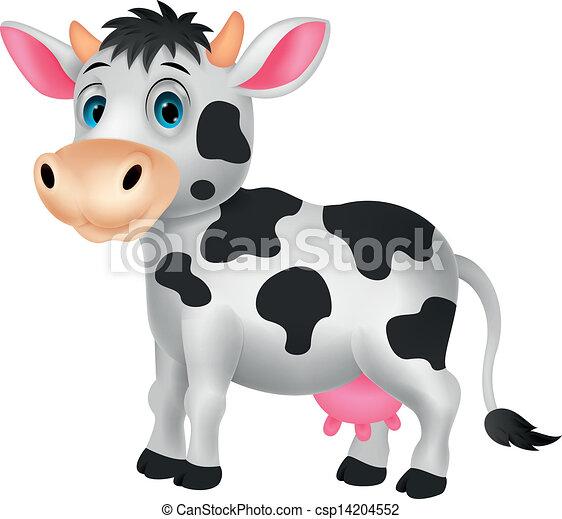 Cute cow cartoon - csp14204552