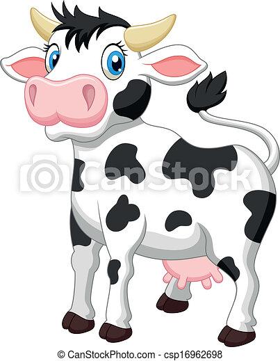 Cute cow cartoon  - csp16962698