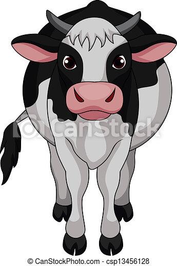 Cute cow cartoon - csp13456128
