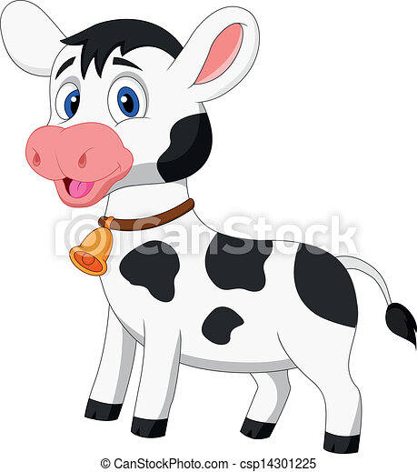 Cute cow cartoon - csp14301225