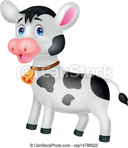 Cute cow cartoon  - csp14799522