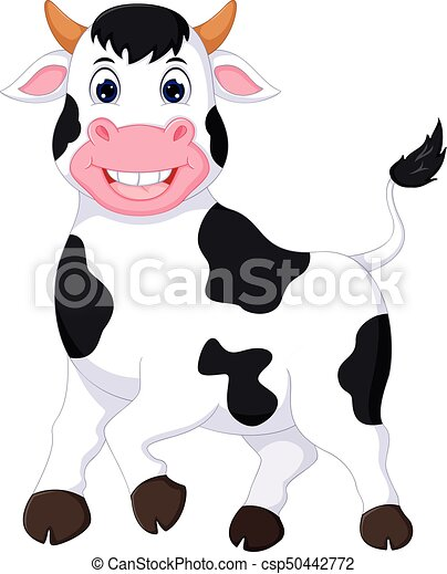 cute cow cartoon posing with smiling - csp50442772
