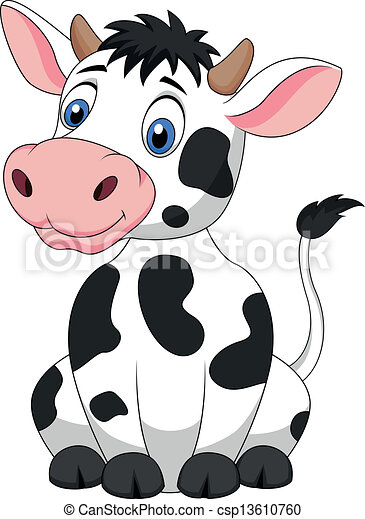 Cute cow cartoon sitting - csp13610760