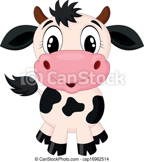 Cute cow cartoon  - csp16962514