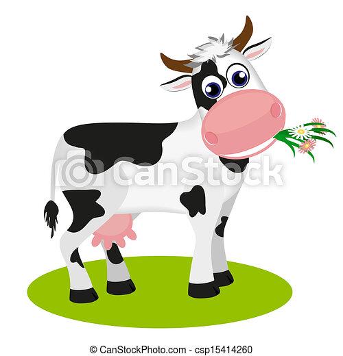 Cute cow eating daisy - csp15414260