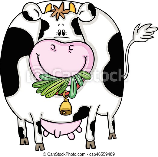 scalable vectorial image representing a cute cow eating vector rh canstockphoto com funny cow clipart cute baby cow clipart