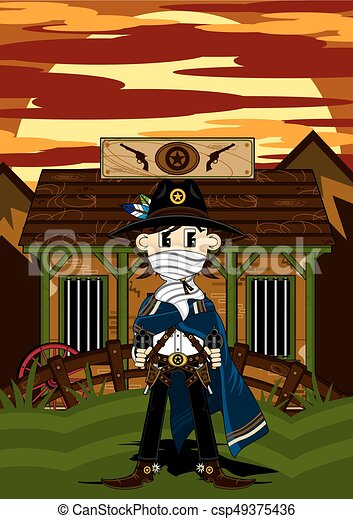 Cute Cowboy at Jailhouse - csp49375436