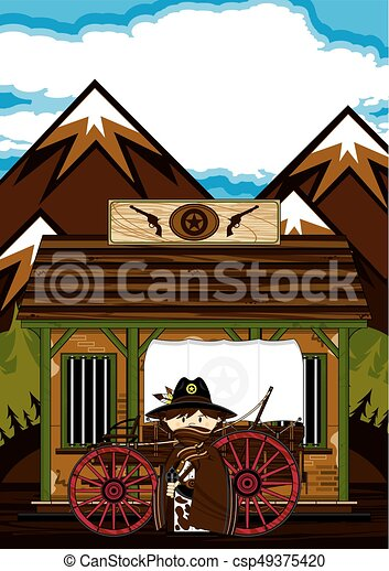 Cute Cowboy at Jailhouse - csp49375420