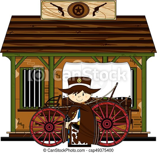 Cute Cowboy at Jailhouse - csp49375400