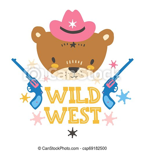 Cute cowboy baby bear. Hand drawn vector illustration. For kid's or baby's shirt design, fashion print design, graphic, t-shirt, kids wear. - csp69182500