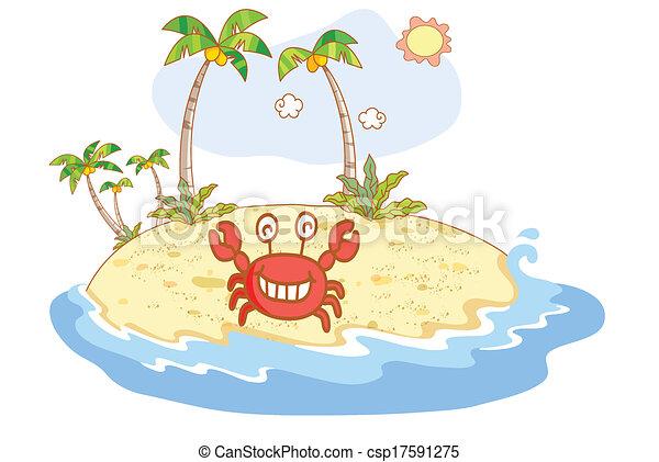 cute crab and beach background cute crab cartoon and beach background
