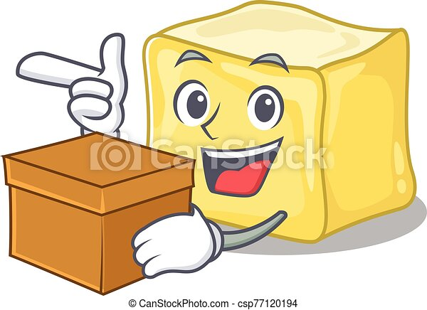 Cute creamy butter cartoon character having a box - csp77120194
