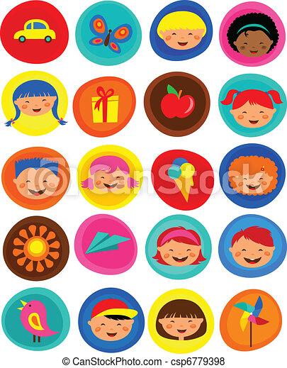 cute, crianças, padrão, ícones, ilustração, vetorial - csp6779398