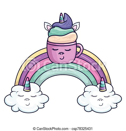cute cup unicorn with rainbow and clouds kawaii style icon - csp78325431