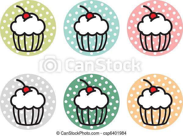 Cute cupcake stickers csp6401984