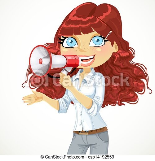 Cute curly haired girl speaks in a megaphone isolated on white background - csp14192559