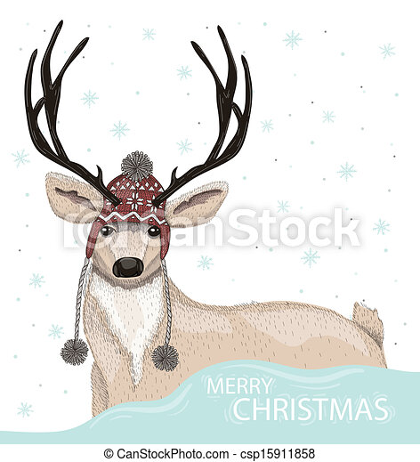 Cute deer with winter background - csp15911858