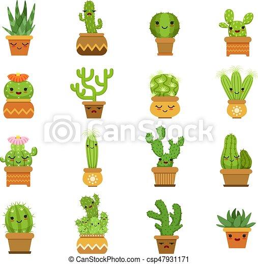 cute desert plants cactus in pots vector cartoon mascot with