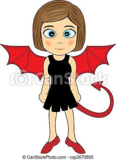 Cute devil girl Vector Clipart | csp3070855