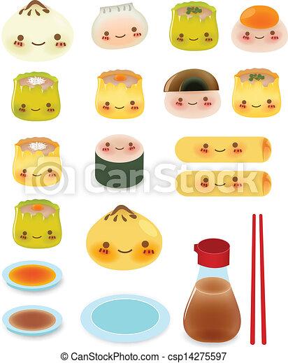 Cute DimSum Collection Vector File EPS10 - csp14275597