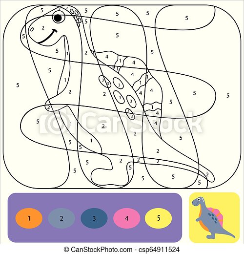 Cute dino coloring page for kids. Printable design coloring book. Coloring  puzzle with numbers of color