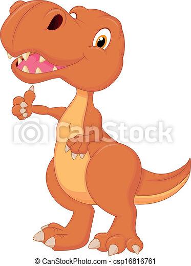 Cute dinosaur cartoon giving thumb  - csp16816761
