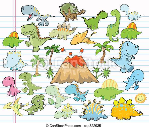 Cute Dinosaur Design Elements Vecto - csp8229351