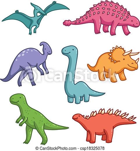Cute dinosaurs vector collection - csp18325078